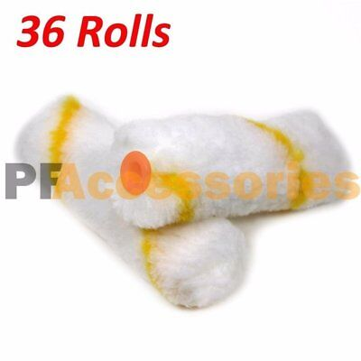 "36 Rolls 4"" inch Mini Paint Roller Covers Refill Gold Stripe Soft Woven 1/2"" Nap"