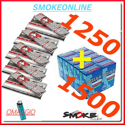 1500 Filtri RIZLA SLIM 6mm e 1250 Cartine ENJOY FREEDOM SILVER CORTE + ACCENDINO