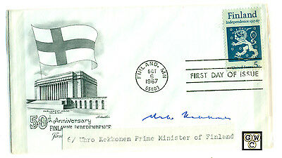 First Day Cover Signed By Uhro Kekkonen Prime Minister of Finland.