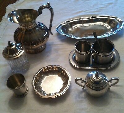 10 PCS VTG SILVER PLATE Silver Pitcher,Trays,Creamer,Cup,Sugar Bowl Tramontina