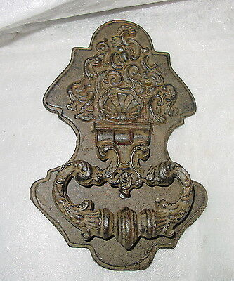 "Vintage Early Ornate Cast Iron Door Knocker 9"" High"