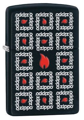 Zippo 28667, Surround-Logo, Black Matte Finish Lighter, Full Size