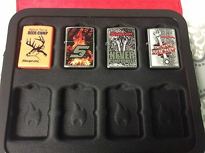 Snap on tools ZIPPO lighter set 4 in case Snap on tools zippo lighters