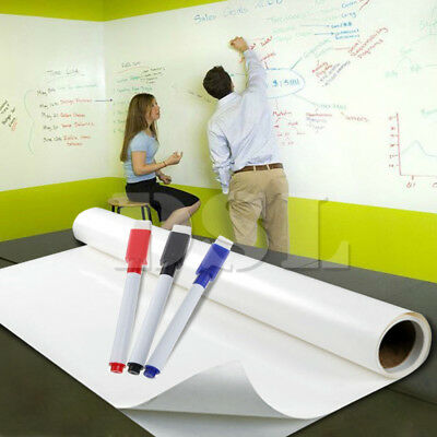 2m x 60cm DRY WIPE Removable Whiteboard Vinyl Wall Sticker Office Home +3 Marker