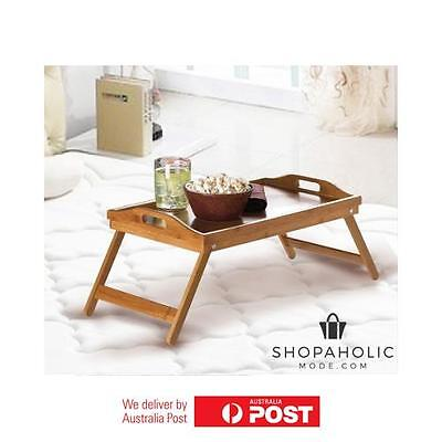 Bamboo Fold Up Lap Serving Tray Coffee Tea Table Wooden Dinner Breakfast in Bed