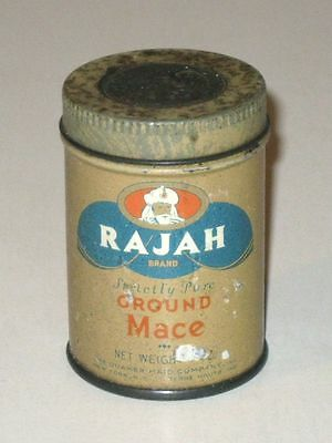 Vintage 1930s RAJAH Strictly Pure Ground Mace (QUAKER MAID) Advertising Tin!