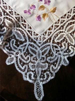 antique SOCIETY SILK Embroidery BATTENBERG LACE Linen Tablecloth 6 Naps VIOLETS