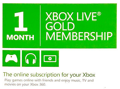 Xbox Live 1 Month Gold Membership for Xbox One & 360
