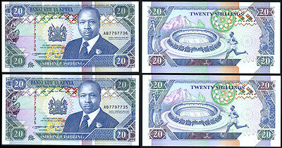 KENYA P31a***20 SHILLINGS***ND 1993***UNC***SEQUENTIAL PAIR***LOOK SUPER SCAN