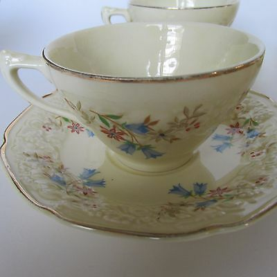 4 Vintage Crown Ducal Florentine Cup & Saucer Set Made in England