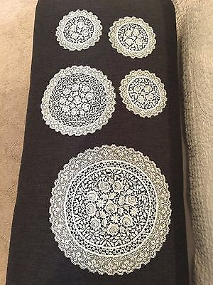 Vintage Set of 5 Matching Doilies ~ Rose Motif ~ Different Sizes ~ All White