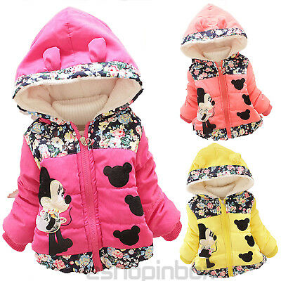 Toddler Kids Girl Floral Minnie Mouse Down Coat Jacket Hooded Snowsuit Outerwear