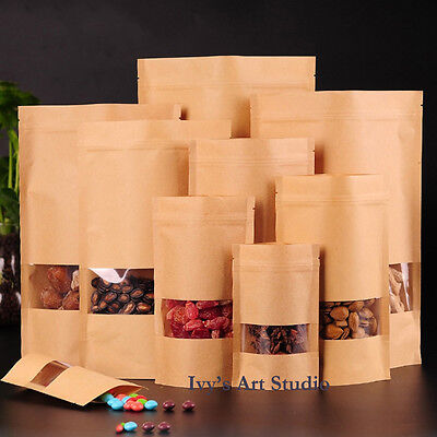 Resealable Stand Up Kraft Paper Seal Zipper Window Packing Food Storage Bag