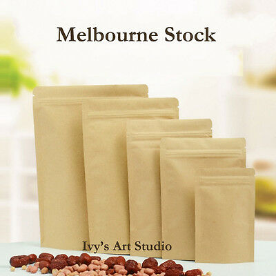 Resealable Kraft Paper Stand Up Zipper Seal Packing Food Storage Bag Gift Wrap