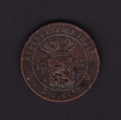 Netherlands Indies 2 1/2 Cent 1857 Coin