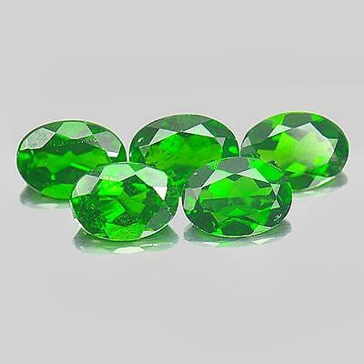 Unheated 3.85 Ct. 5 Pcs. Oval Shape Natural Gemstones Green Chrome Diopside