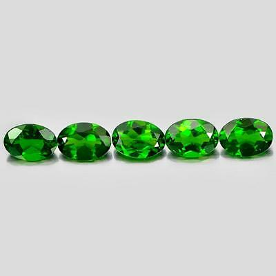 Unheated 3.93 Ct. 5 Pcs. Oval Shape Natural Gemstones Green Chrome Diopside