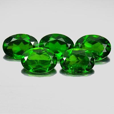 Unheated 3.78 Ct.5 Pcs.oval Shape Natural Gems Green Chrome Diopside From Russia