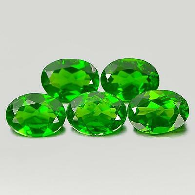 Unheated 3.78 Ct. 5 Pcs. Oval Shape Natural Gemstones Green Chrome Diopside