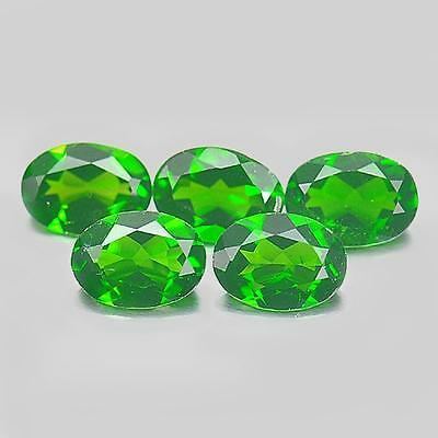 Unheated 3.67 Ct. 5 Pcs. Oval Shape Natural Gems Green Chrome Diopside Russia