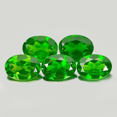 Unheated 3.71 Ct. 5 Pcs. Oval Shape Natural Gemstones Green Chrome Diopside