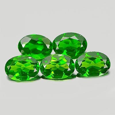3.98 Ct. 5 Pcs.oval Shape Natural Gemstones Green Chrome Diopside From Russia