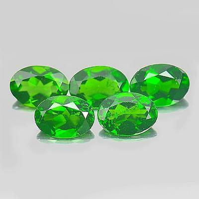 3.96 Ct. 5 Pcs. Oval Shape Natural Gemstones Green Chrome Diopside Unheated