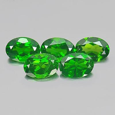 4.09 Ct. 5 Pcs. Oval Shape Natural Gemstones Green Chrome Diopside Russia