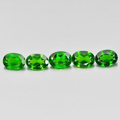 Unheated 3.96 Ct. 5 Pcs.oval Natural Gemstones Green Chrome Diopside From Russia