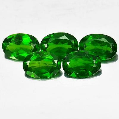 3.71 Ct. 5 Pcs. Oval Shape  Natural Gemstones Green Chrome Diopside Unheated