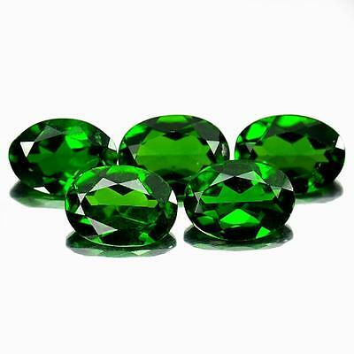 3.80 Ct.5 Pcs. Gemstones Natural Oval Shape Green Chrome Diopside Unheated