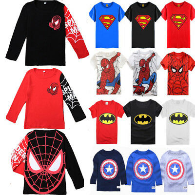Toddlers Kids Boys Marvel Superhero Spiderman T-shirts Tops Clothes Cotton 1-7Y