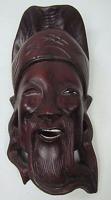 Old Carved Asian Dark Wood Hat Man Exquisite Detailing Eyes Teeth 10A