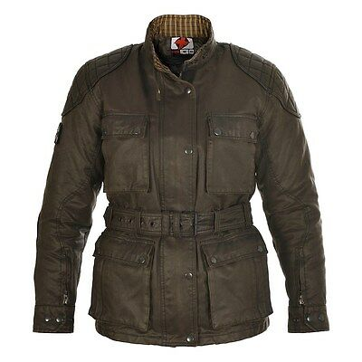 Oxford Heritage Ladies/Womens Olive Wax Motorcycle Bike Jacket With CE Armor