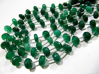 AAA Quality Green Onyx Rondelle Faceted Beads, 9 inch long Strand, FREE SHIPPING