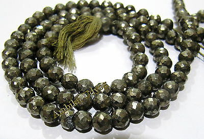 AAA Quality Natural Faceted Round Shape Pyrite Beads , Size 6mm Length 13 inches