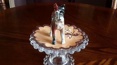 "Vintage Ceramic Airedale Terrier Figurine 5"" W x 4"" H - Marked Japan"