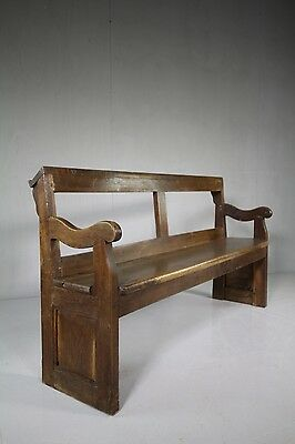 English 19th Century Antique Oak Chapel Bench (2).