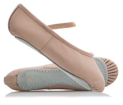 Ladies & Girls Pink Soft Leather Full Sole Dance Ballet Shoes All Sizes ECONOMY