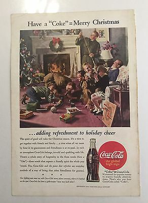Coca-cola Original Magazine Page Ad 1944 Soldiers, Merry Christmas Holiday