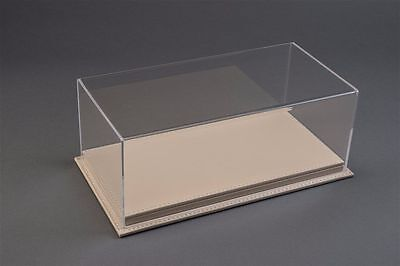 1/24 Display case, Beige leather stitched base Hand made, scratch resistant acry