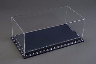 1/18 Display case, Dark Blue leather stitched base Hand made, scratch resistant