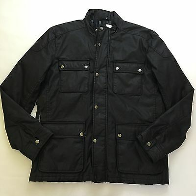 J Crew Hayes Waxed Canvas Coat With Thinsulate Large Black $198