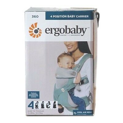 NEW in BOX! ERGOBABY 360 4 Position Ergo baby carrier / COOL AIR MESH ICY MINT