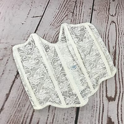 Vintage Lily Of France White Lace Corset Bustier Size 36 Nylon B26