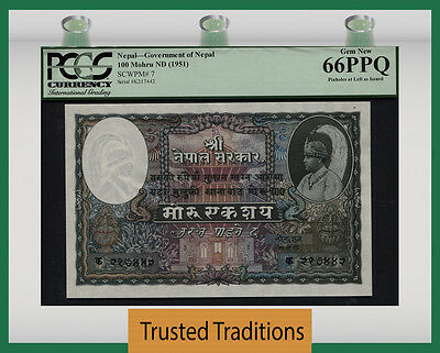 "Tt Pk 7 1951 Nepal 100 Mohru ""king Tribhuvana"" Pcgs 66 Ppq Gem New Only 1 Finer!"