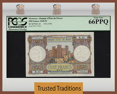"Tt Pk 45 1948-52 Morocco 100 Francs ""kasbah"" Pcgs 66 Gem New Only One Finer!"