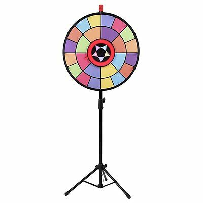 "WinSpin™ 24"" Floor Stand Editable Color Prize Wheel 2 Circles 2 Pointers Game"