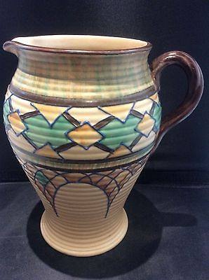 Huge Royal Cauldon Tube Lined Pottery Art Deco Pitcher Jug by Edith Gater