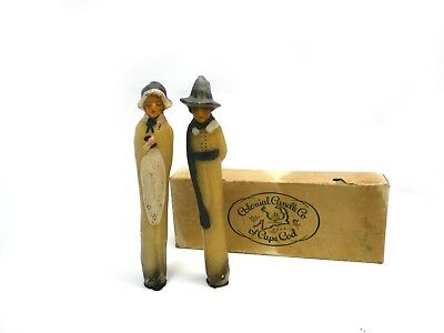 Vintage Colonial Candle Co Pilgrim Couple Figure Candles in Original Box